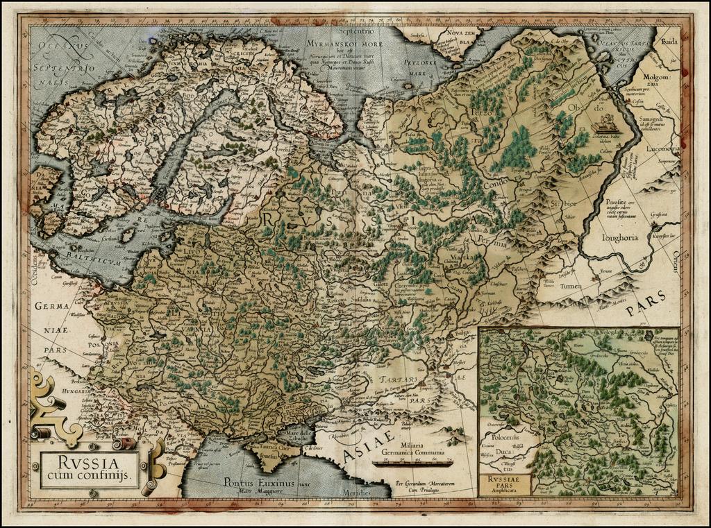 Russia cum Confinijs (First Edition) By Gerard Mercator