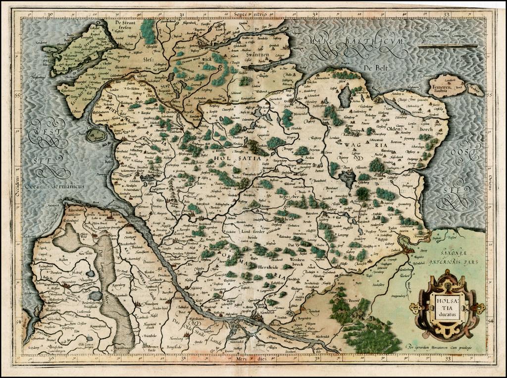 Holsatia Ducatus  [First Edition] By  Gerard Mercator