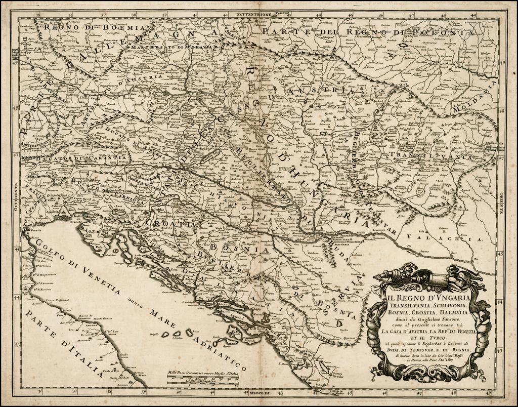 Il Regno D'Ungaria Transilvania, Schiavonia, Bosnia, Croatia, Dalmatia . . . 1683 By Giacomo Giovanni Rossi