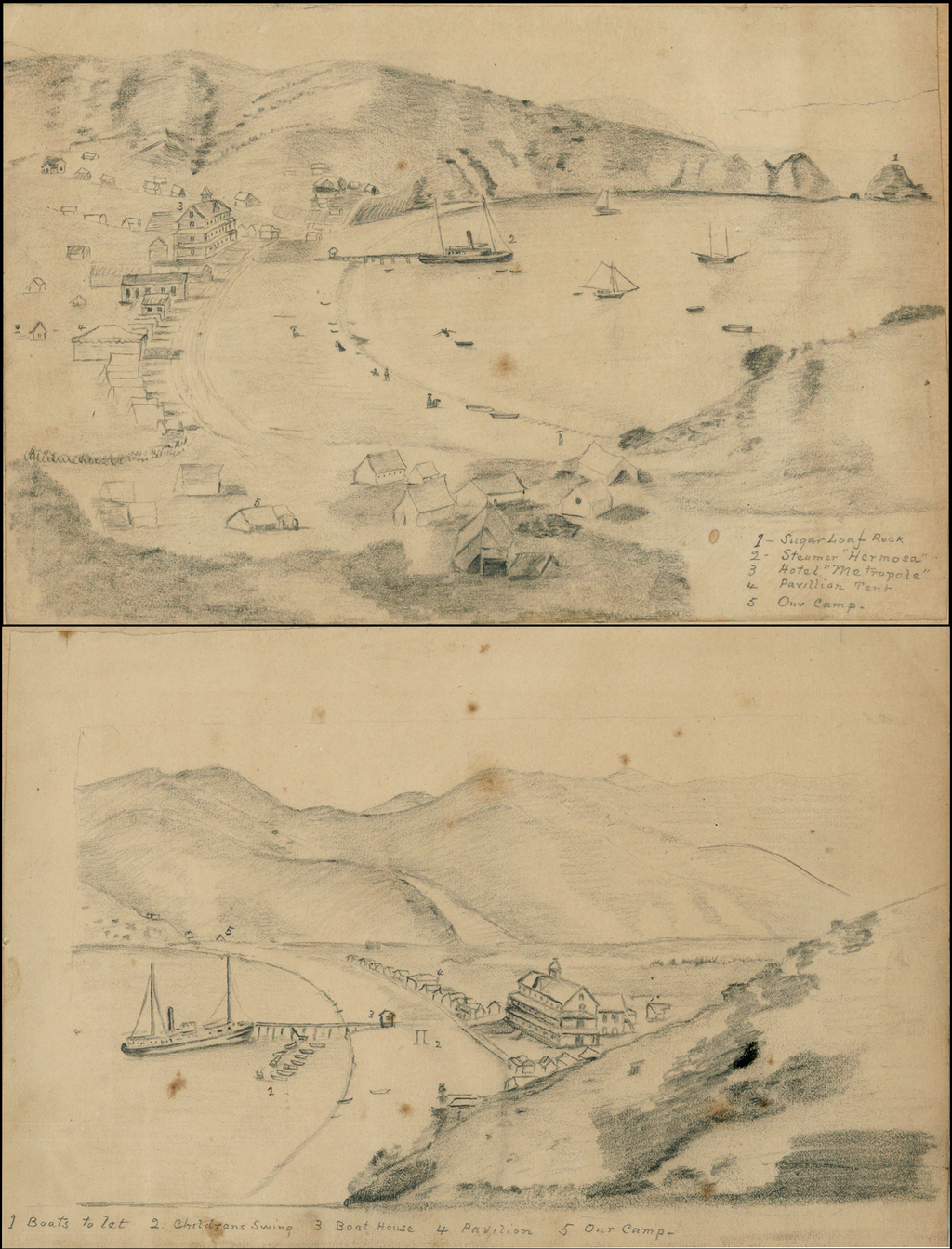 2 Pencil Sketches of Avalon, Catalina Island, California By Anonymous