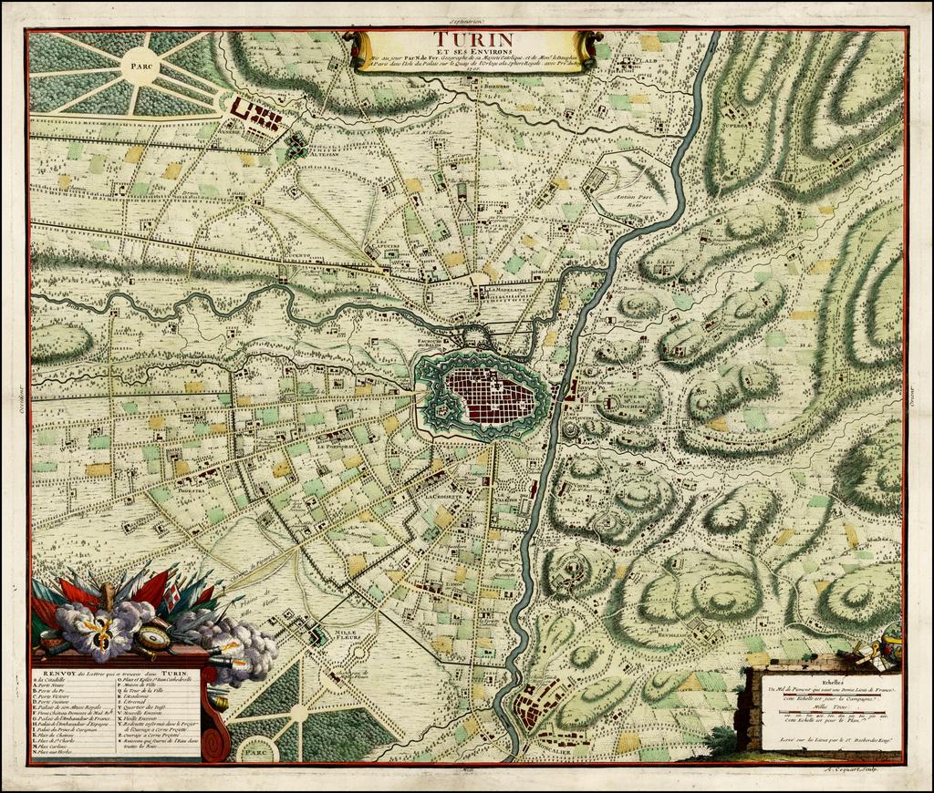 Turin et ses Environs . . . 1705 By Nicolas de Fer