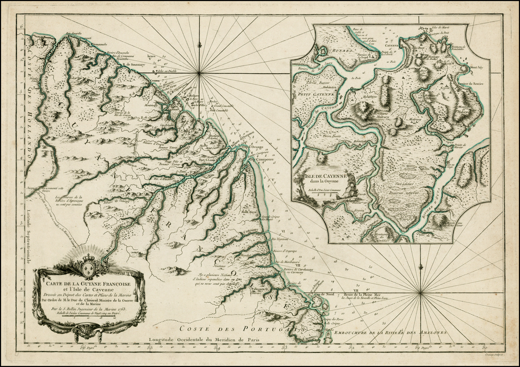 Carte de la Guyane Francoise et l'Isle de Cayenne Francoise et l'Isle de Cayenne . . . 1763 By Jacques Nicolas Bellin