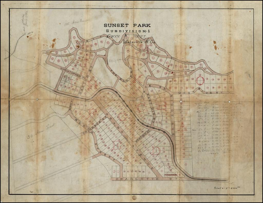 Sunset Park Subdivision 1  Gwyn & West  Ashville, N.C. (Manuscript Map) By Gwyn & West