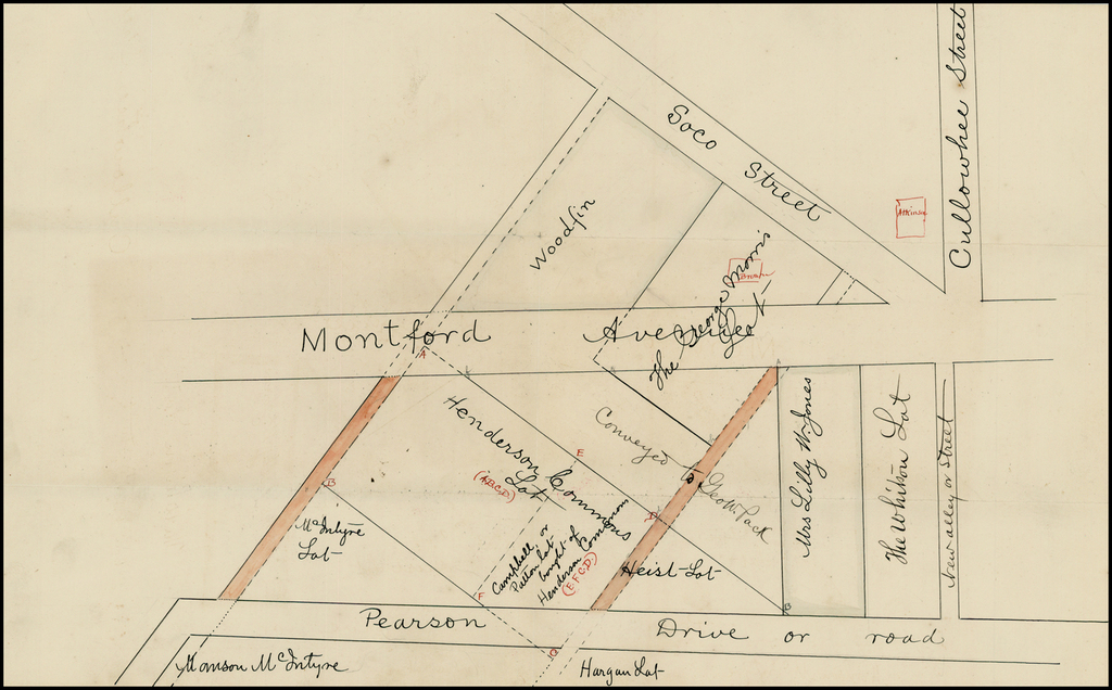 [Asheville, North Carolina -- Untitled Manuscript Map of Lots on Montford Avenue and Pearson Drive) By Anonymous