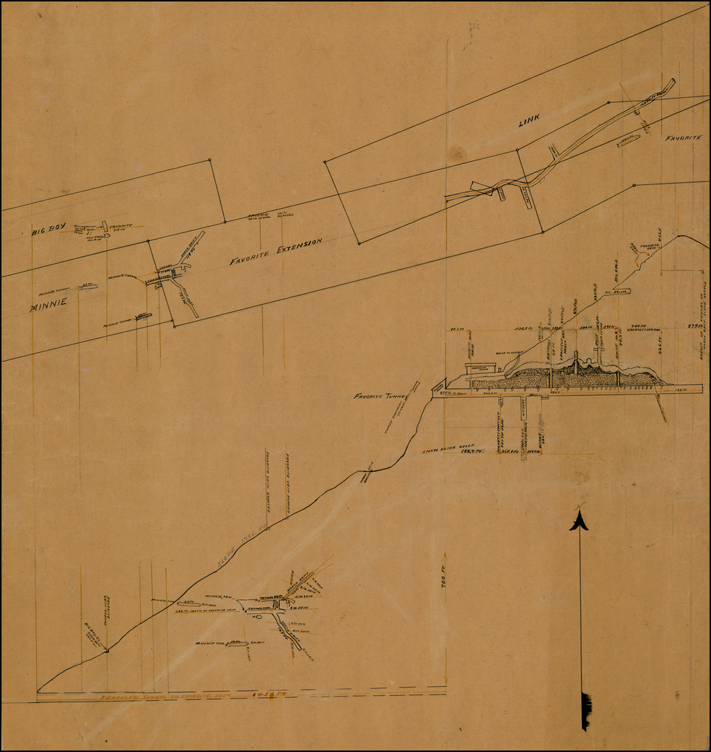 (Sketch Drawings for Proposed Tunnel On Favorite Vein -- La Plata County, Colorado) By Anonymous