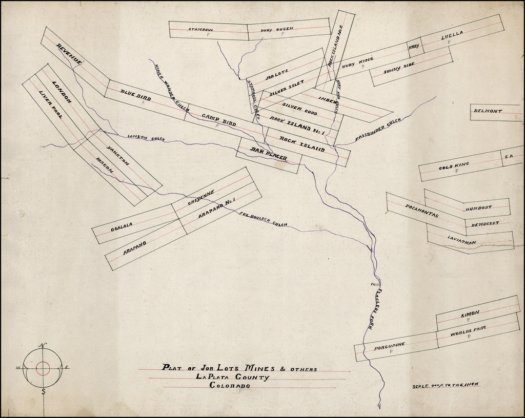 Plat of Job Lots Mines & Others, La Plata County, Colorado  By Anonymous