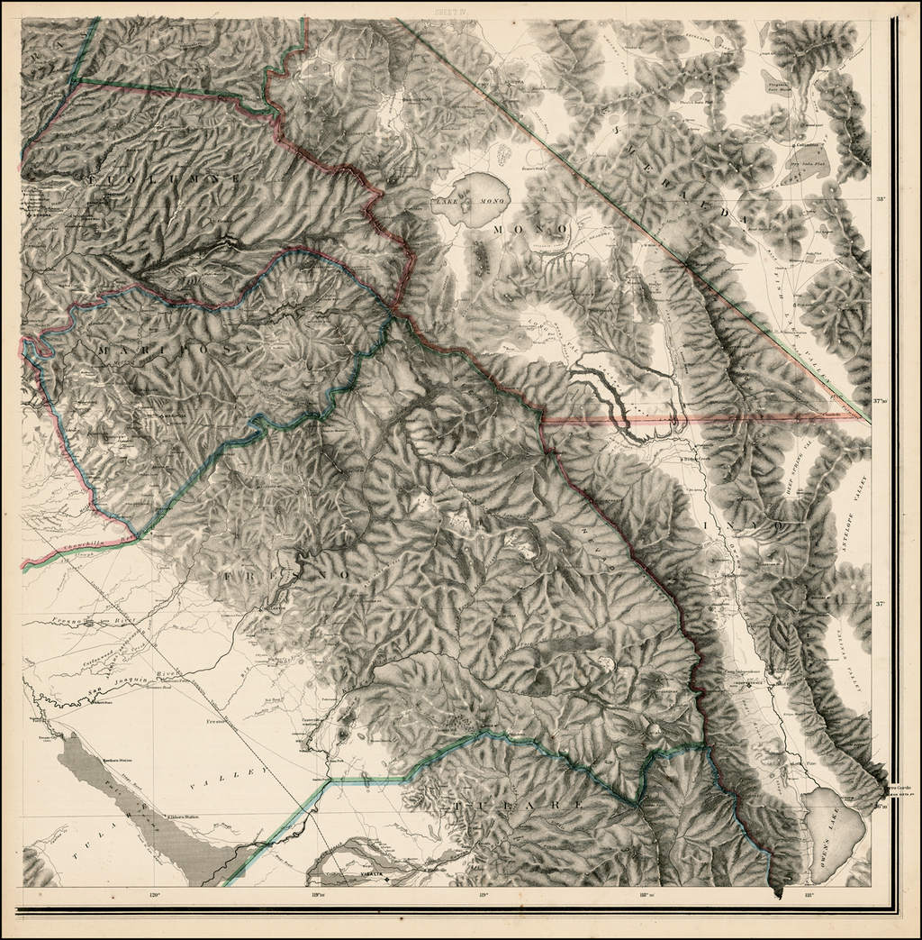 [Topographical Map of Central California together with a part of Nevada-Sheet IV]  [Extremely Rare & Important] By Charles F. Hoffmann / Josiah Dwight Whitney