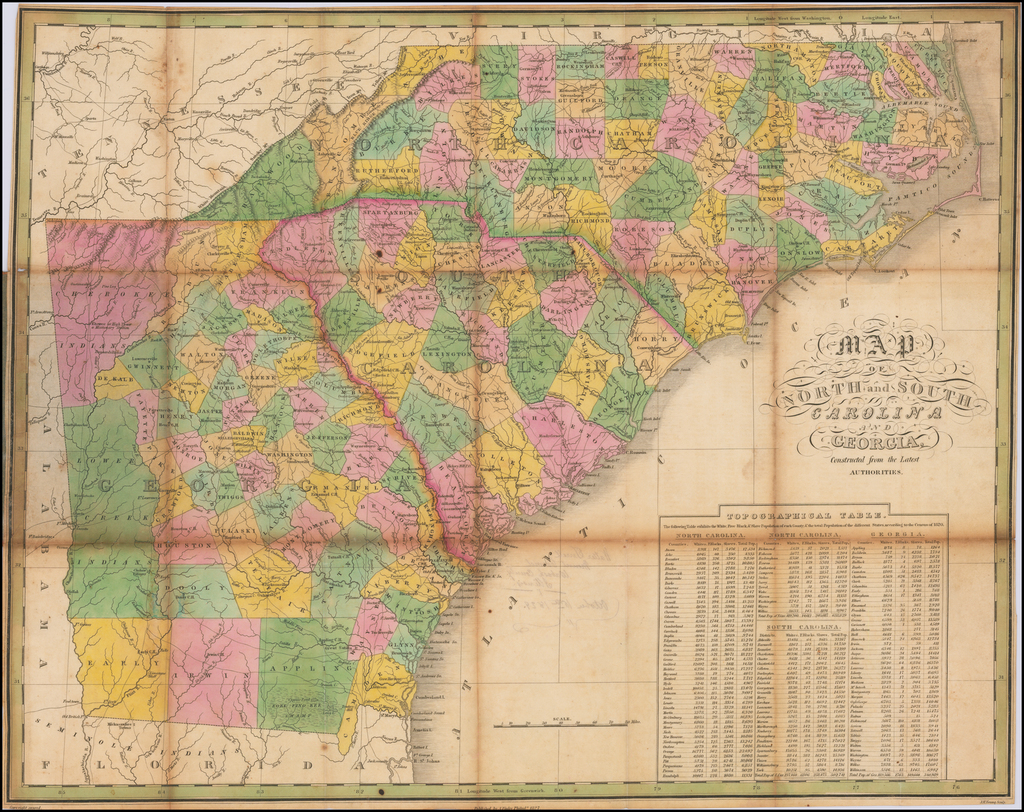 Map of North and South Carolina and Georgia Constructed from the Latest Authorities  [Pocket Map] By Anthony Finley