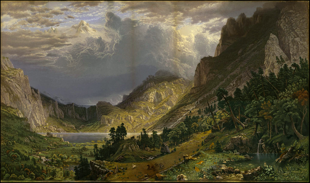 (Mt. Evans)  Storm in the Rocky Mountains, Mt. Rosalie. By Albert Bierstadt