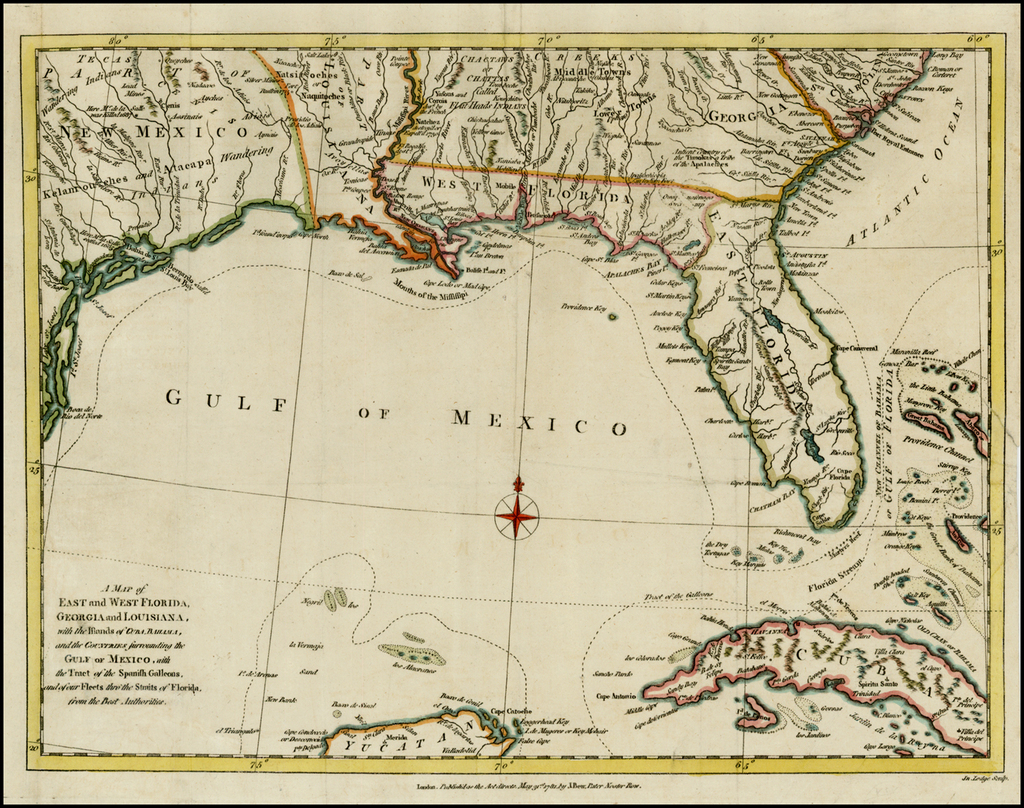 West Florida Map.A Map Of East And West Florida Georgia And Louisiana With The