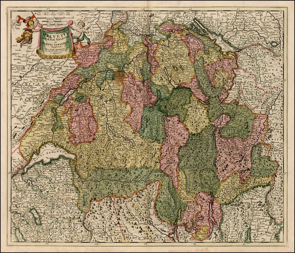 Novissima et Accuratissima Helvetiae, Rhaetiae, Valesiae et Partis Sabaudiae Tabula . . . By Justus Danckerts