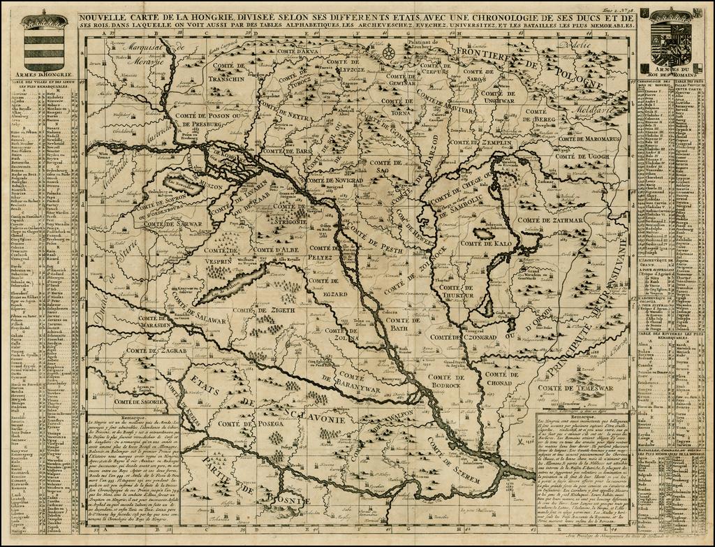 Nouvelle Carte De La Hongrie Divisee Selon ses Differents Etats, Avec une Chronologie De Ses Ducs et de ses Rois . . .   By Henri Chatelain