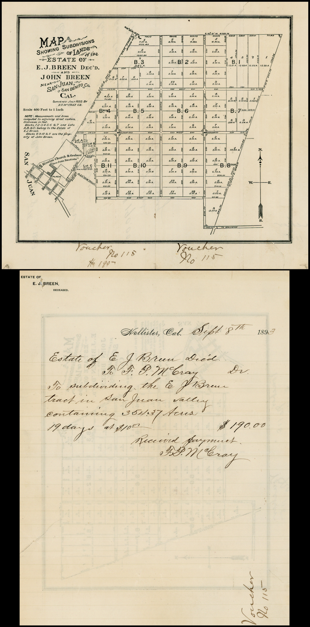Map Showing Subdivisions of Lands of the Estate of E.J. Breen Dec'd. and John Breen  Near San Juan San Benito Co. Cal. Surveyed July 1893 by F.P. McCray C.E.  (with manuscript transfer recitation and bill for survey work on verso) By Anonymous
