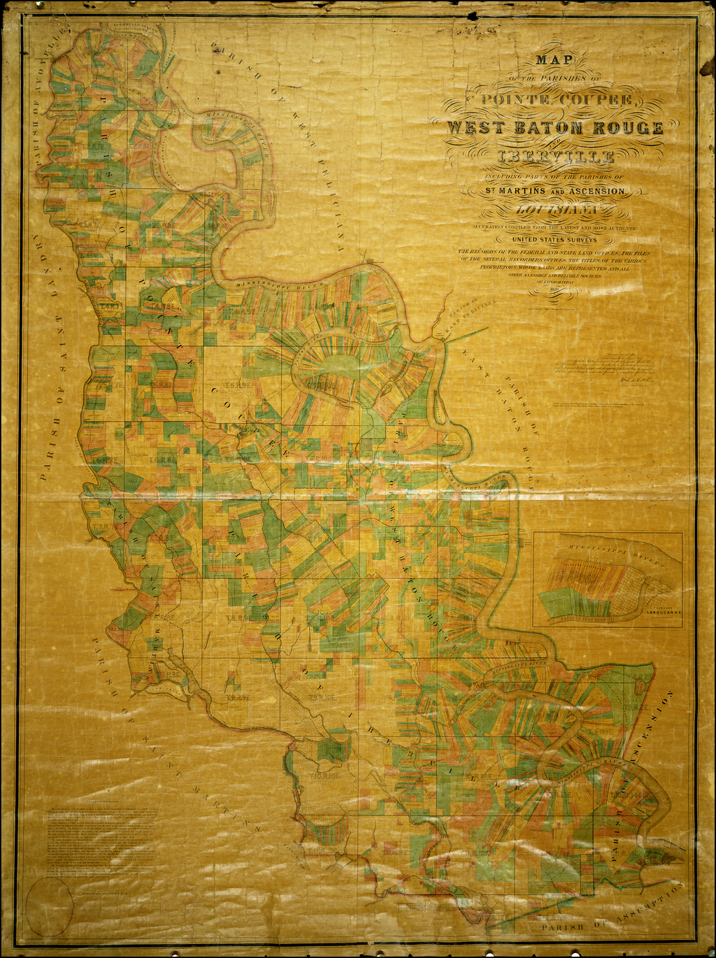 Map of the Parishes of Pointe Coupee, West Baton Rouge and Iberville ...