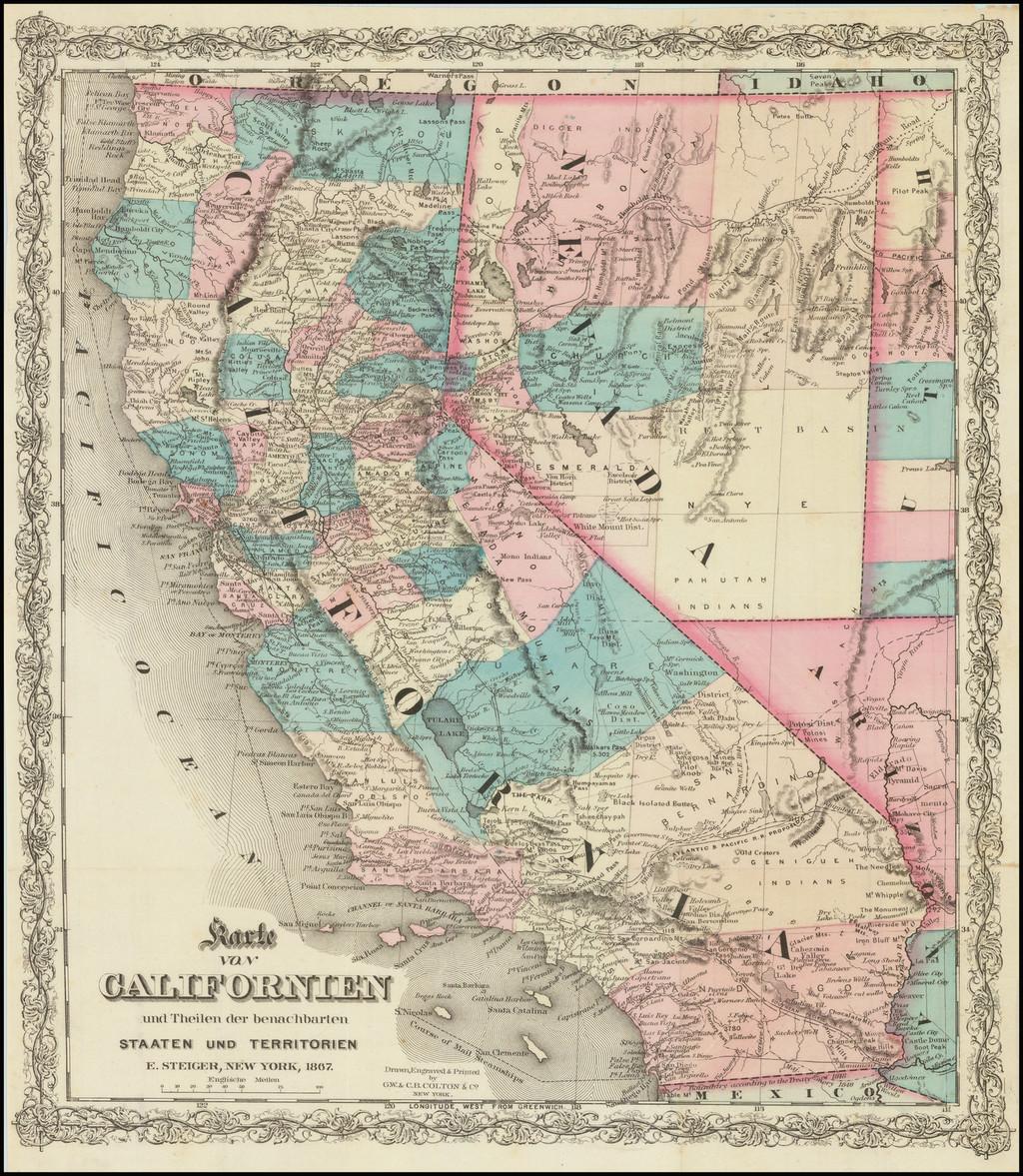 Karte Von Californien und Theilen der benachbarten Saaten und Territorien.  E. Steiger, New York. 1867. By G.W.  & C.B. Colton / E. Steiger