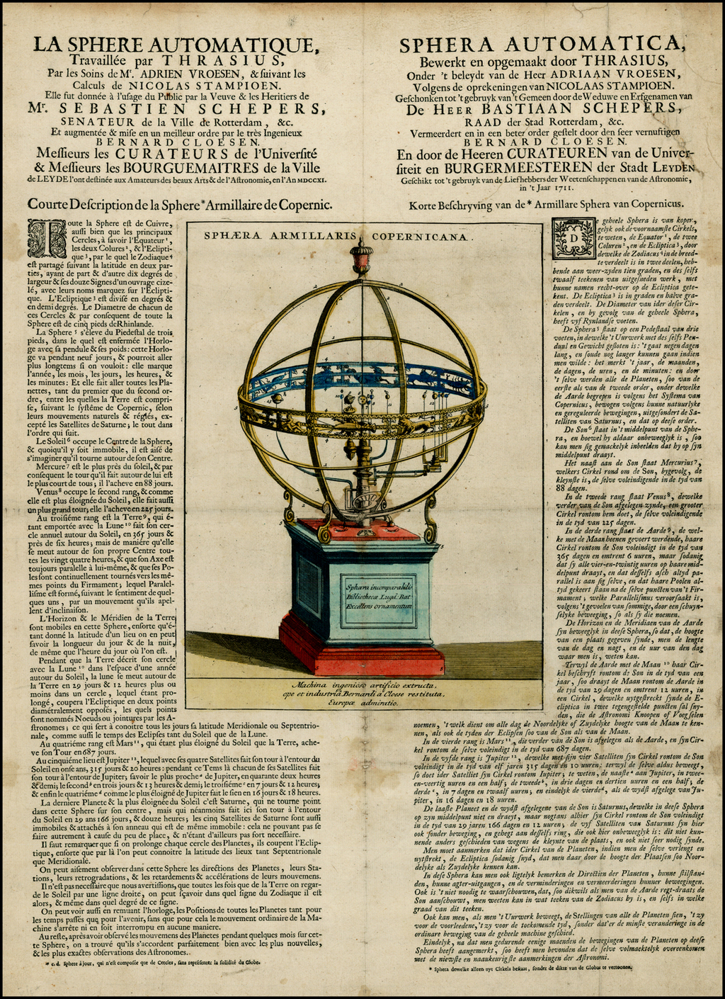 Sphaera Armillaris Copernicana  [Rare Broadside of the Leiden Sphere] By Pieter van der Aa