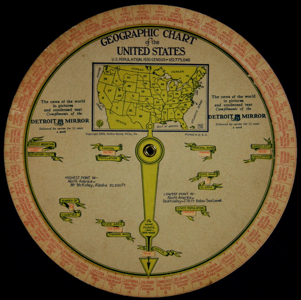 Geographical Chart Of The United States      1930