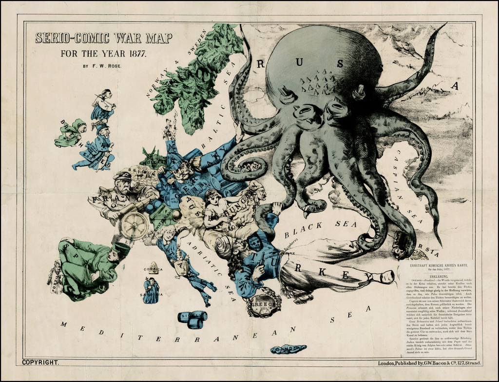 Serio-Comic War Map For The Year 1877 By. F.W.R. By Bacon & Co. / Fred Rose