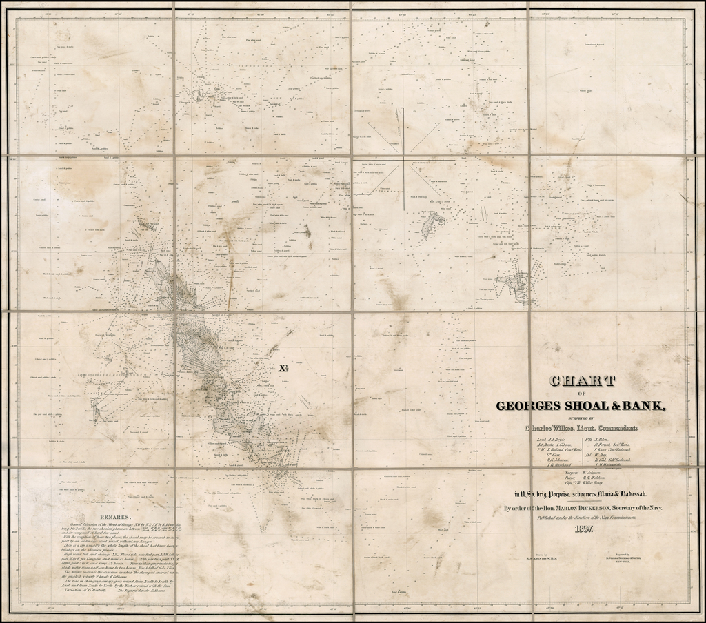 Chart of George's Shoal & Bank, Surveyed By Charles Wilkes, Lieut Commandant . . . in the U.S. brig Porpois, schoolers Maria & Hadassah.  By order of the Hon. Mahlon Dickerson, Secretary of the Navy. . . 1837 By Charles Wilkes / Stiles, Sherman & Smith