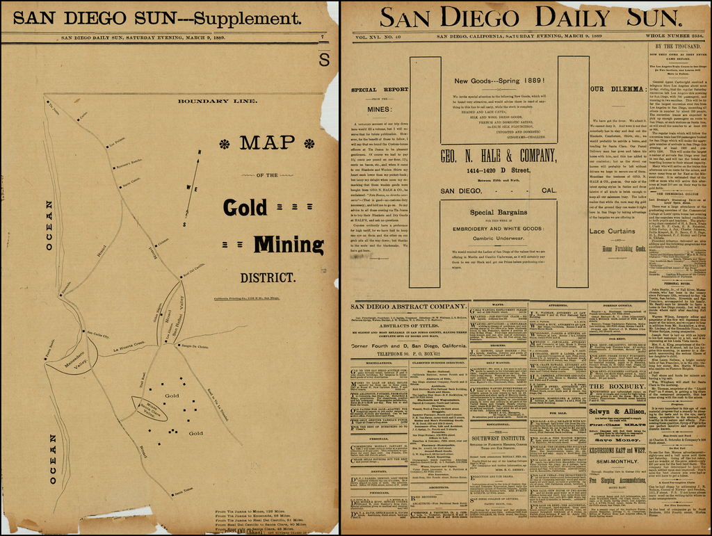 Map of the Gold Mining District (In northern Baja California Norte) (with Special Report from the Mines) By California Printing Co.