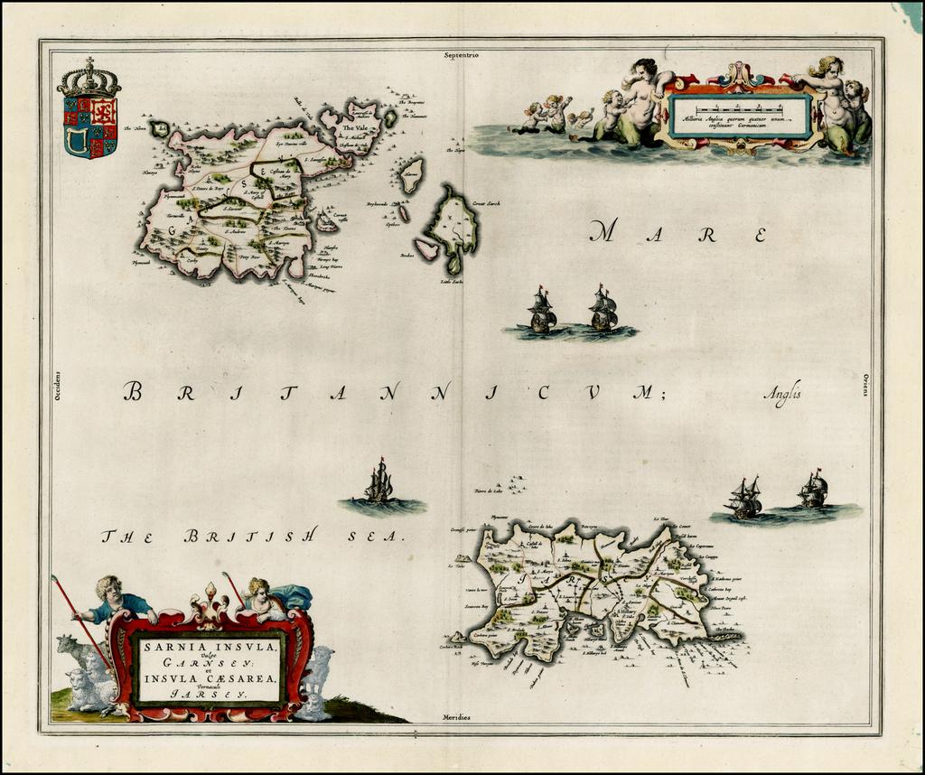 Sarnia Insula vulgo Garnsey et Insula Caesarea venacule Jarsey By Johannes Blaeu