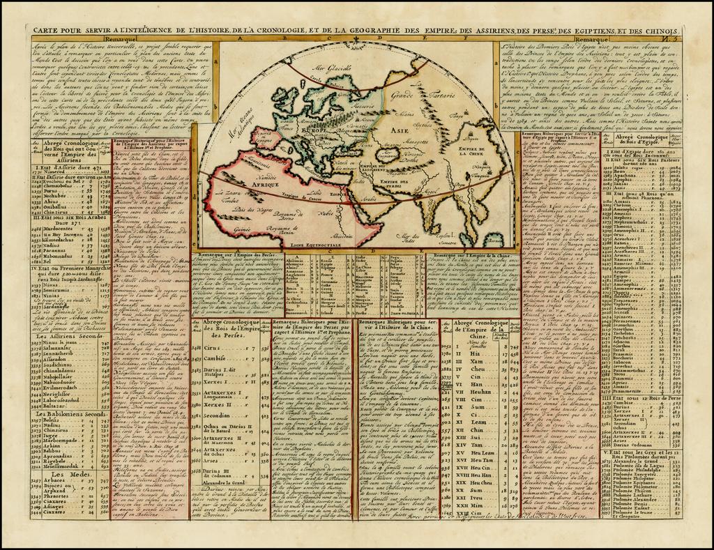 Carte Pour Servir A L'Intelligence De L'Histoire, De La Cronolgie, Et De La Geographie Des Empires Des Assiriens, Des Perses, Des Egiptiens Et Des Chinois By Henri Chatelain