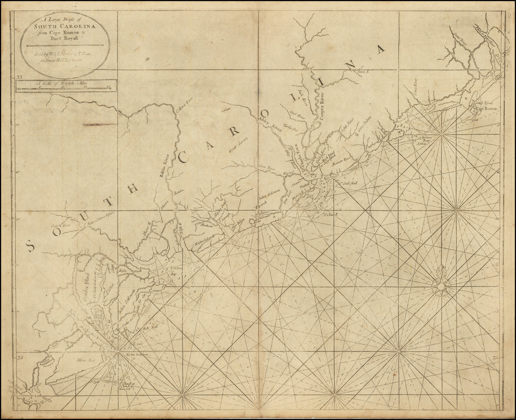 A Large Draft of South Carolina from Cape Roman to Port Royall By Mount & Page