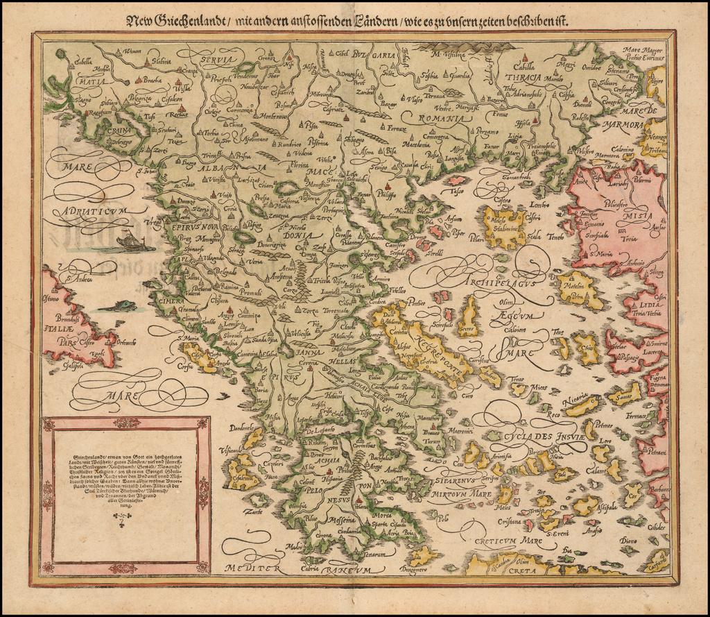 New Griechenlandt / mit andern anstossendener Landern / wie es zu unsern zeiten beschribenist   By Sebastian Münster
