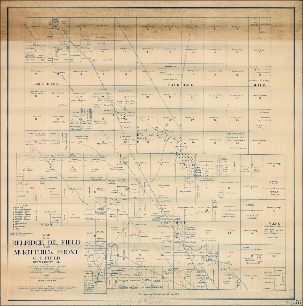 Map of the Belridge Oil Field and McKittrick Front Oil Field