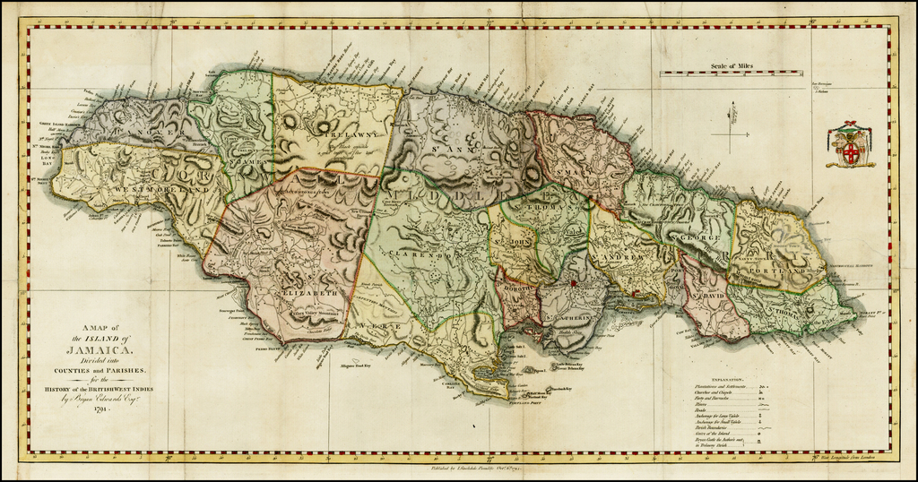 Map of the Island of Jamaica, Divided into Counties and Parishes ...
