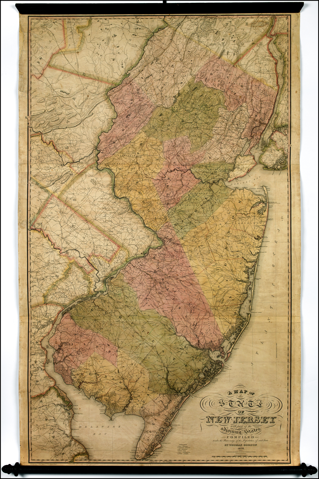 A Map of the State of New Jersey with part of the adjoining States Compiled under the Patronage of the Legislature of said State By Thomas Gordon . . 1828 By Thomas Gordon