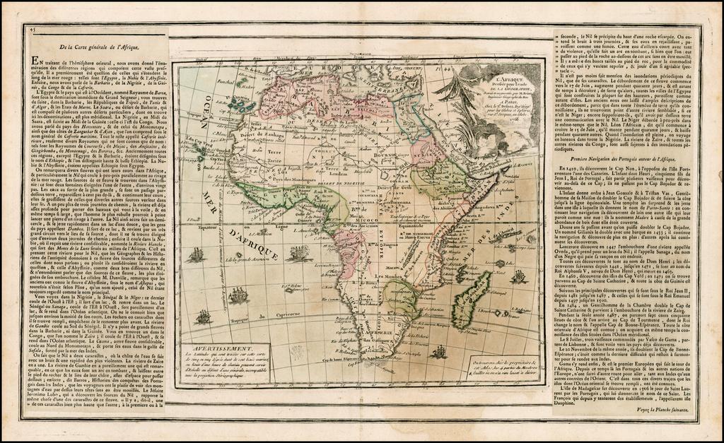 L'Afrique Dressee pour l'etude De La Goegrphie…1766 By Louis Brion de la Tour / Louis Charles Desnos