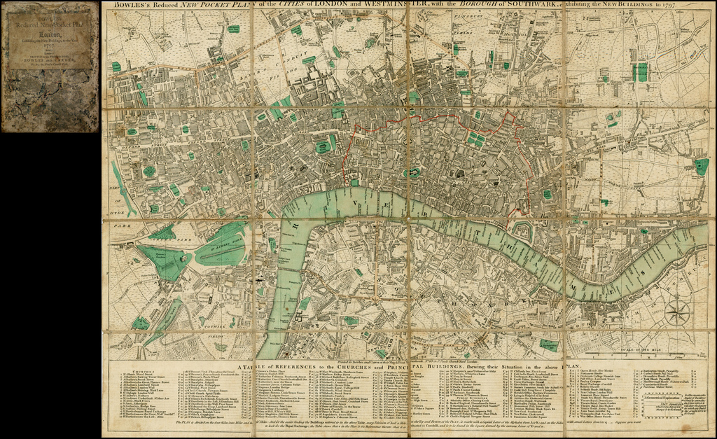 Bowles's Reduced New Pocket Plan of the Cities of London and Westminster, with the Borough of Southwark, exhibiting New Buildings to 1797 By Carrington Bowles  &  Jonathan Carver