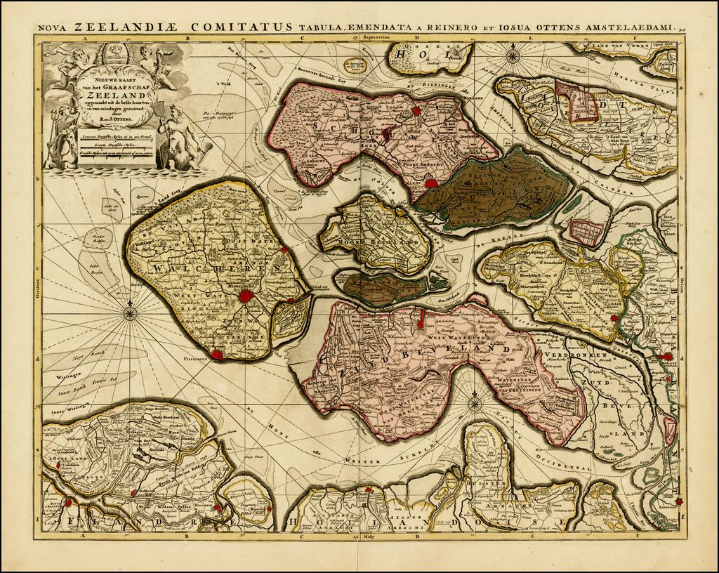 Nieuwe kaart van de graafschap Zeeland . . . / Nova Zeelandiae Comitatus Tabula . . .  By Reiner & Joshua Ottens