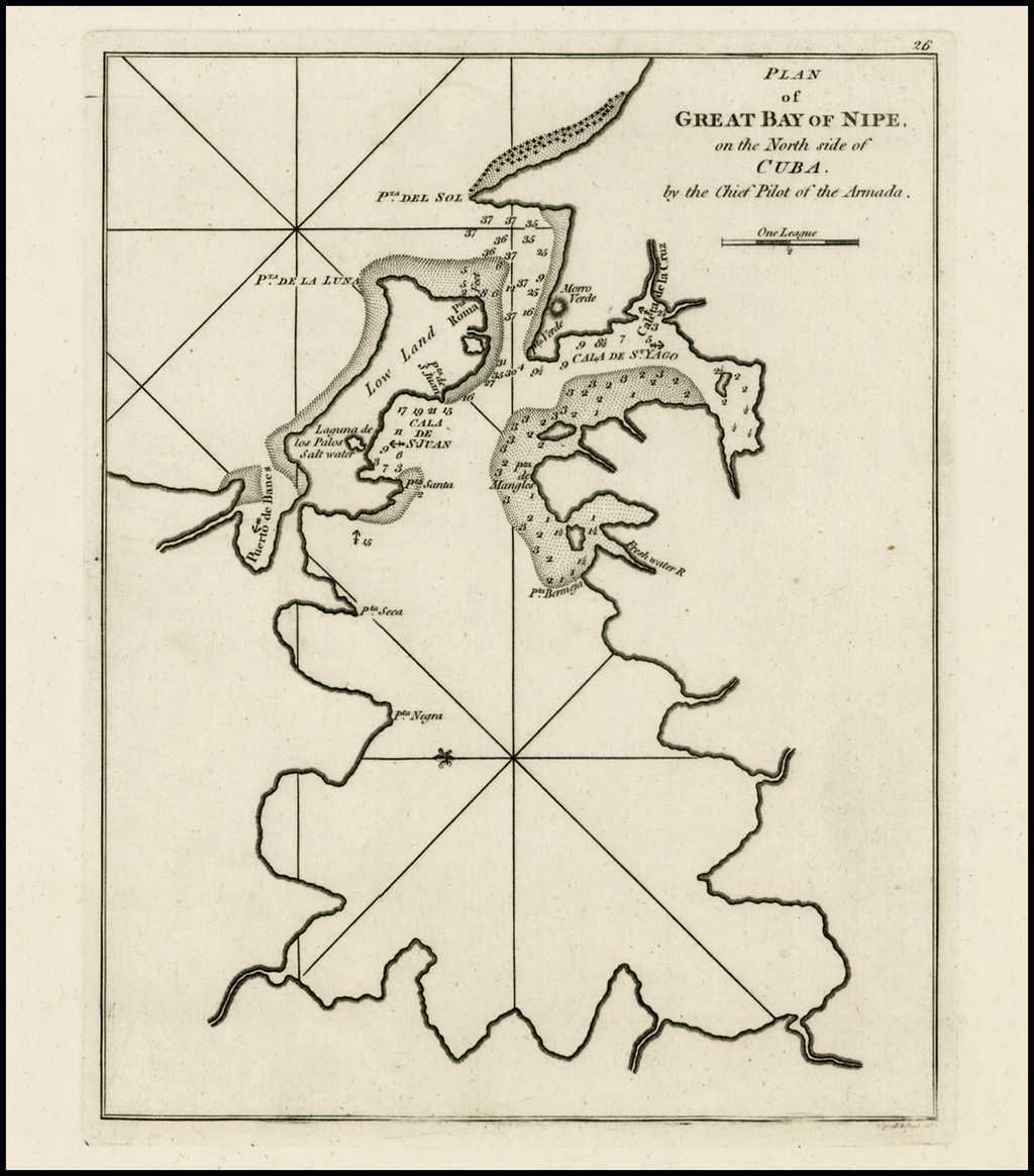 Plan of Great Bay of Nipe on th North Side of Cuba, by the Chief Pilot of the Armada. By Sayer & Bennett