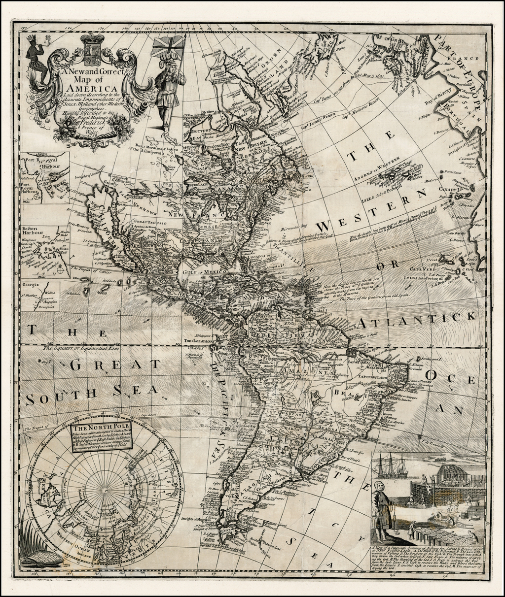 A New and Correct Map of America Laid down According to the Accurate Improvements of Senex, Moll and other Modern Geographers.  Humbly Inscribed to his Royal Higness Frederick Pirnce of Wales,  1738 By George Foster