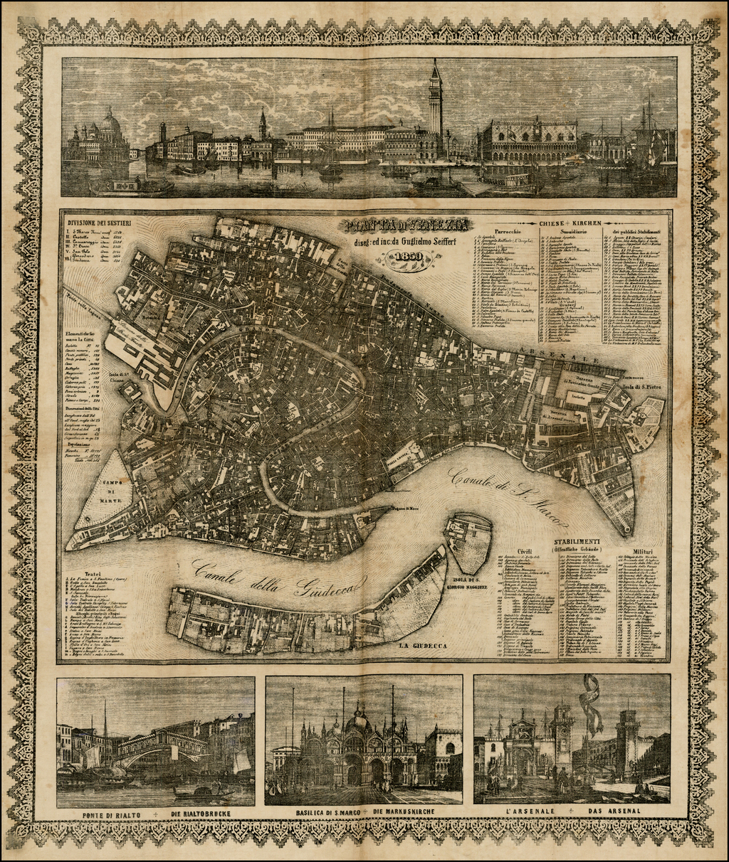 Pianta di Venezia diseg: ed inc:da Guglielmo Seiffert . . . 1850 By Guglielmo Seiffert