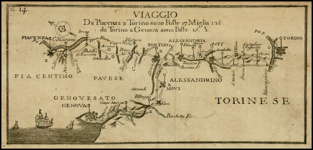 Viaggio Da Piacenza a Torino sono Poste 17 Miglia 128. da Torino a Genoa sono Poste 15. 1/2 By Francesco De Caroly
