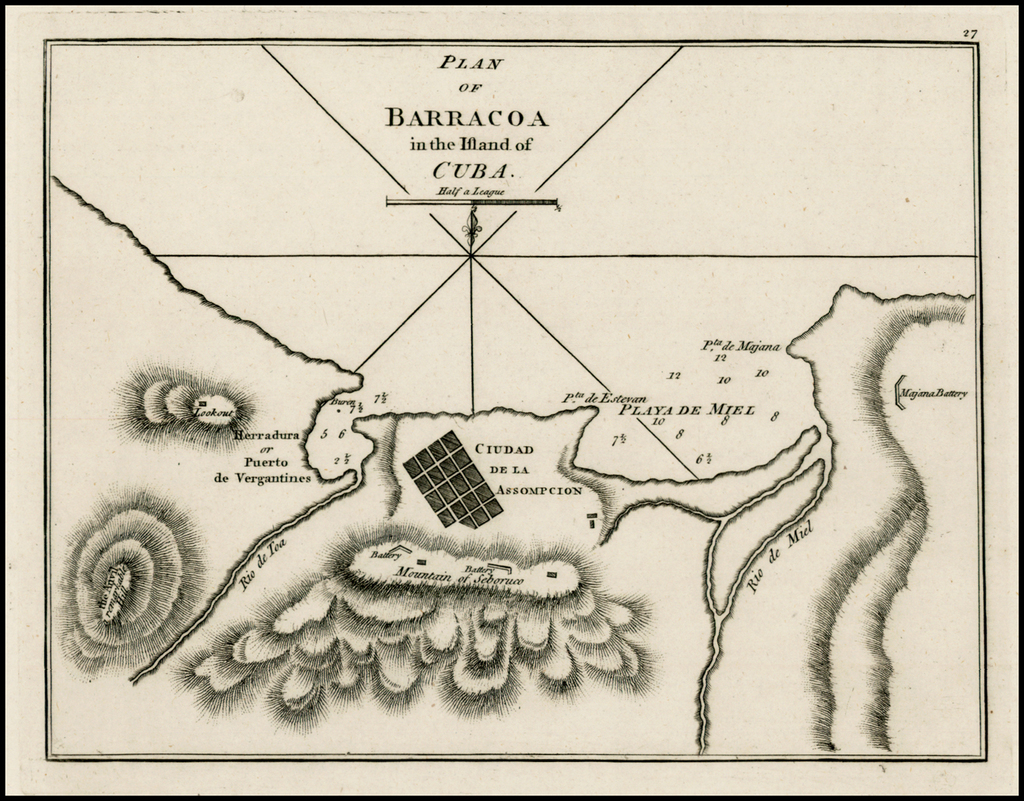 Plan of Barracoa in the Island of Cuba By Sayer & Bennett