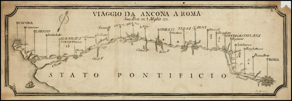 Viaggio Da Ancona a Roma Sono Poste 22 1/2 Miglia 172. By Francesco De Caroly
