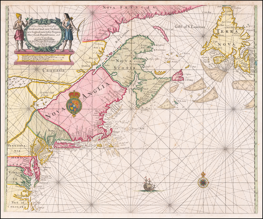 A New Chart of the Sea Coast of Newfound land, new Scotland, new England, new Jersey, Virginia, Maryland, Pennsylvania, and part of Carolina . . .  By John Thornton