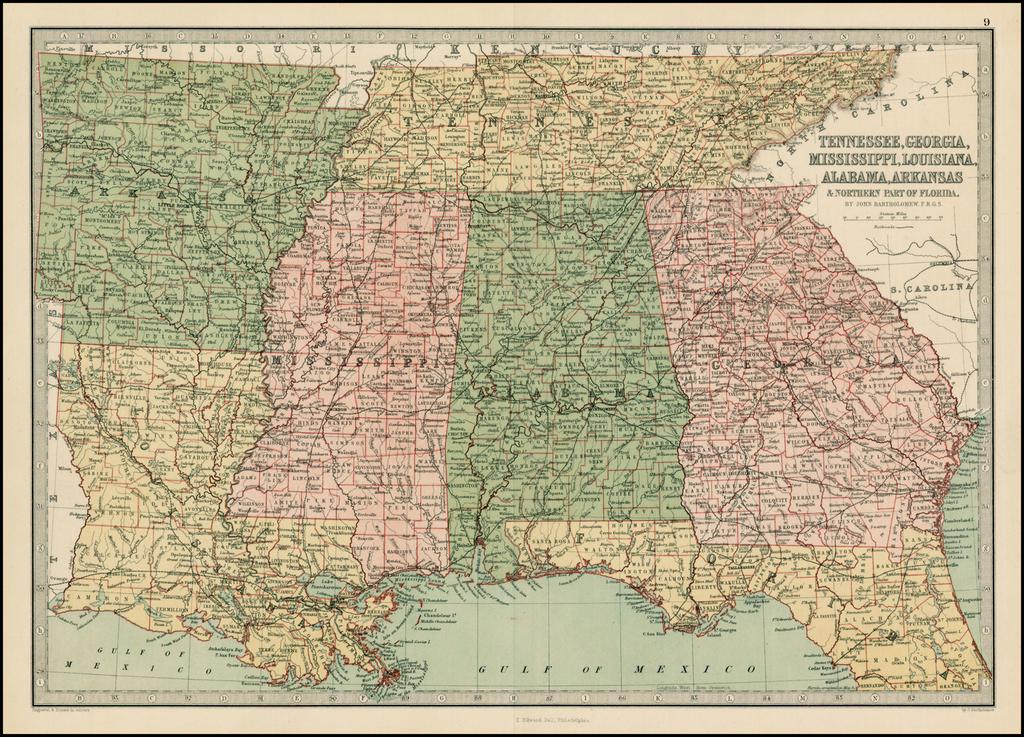 Map Of Northern Florida And Georgia.Tenneessee Georgia Mississippi Louisiana Alabama Arkansas