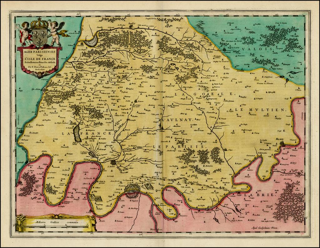 Ager Pariiensis vulgo L'Isle De France . . . [Includes Large Paris Plan] By Willem Janszoon Blaeu
