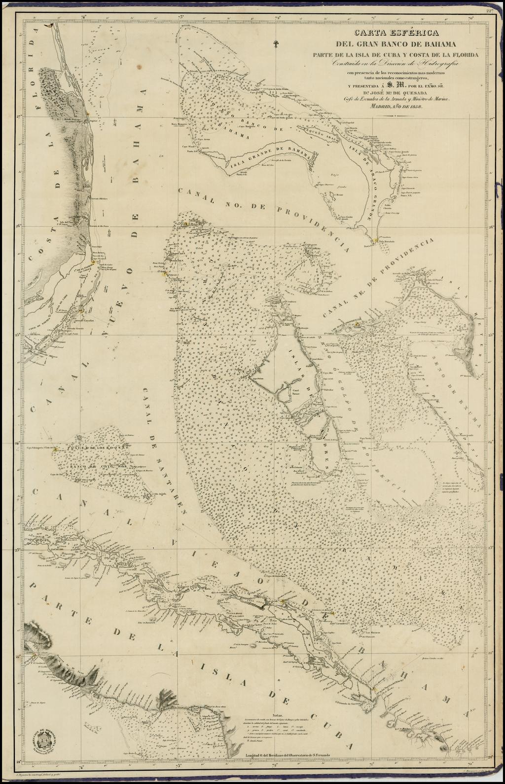 Carta Esferica Del Gran Banco de Bahama Parte de la Isla de Cuba y Costa de Florida . . . 1858 By Direccion Hidrografica de Madrid
