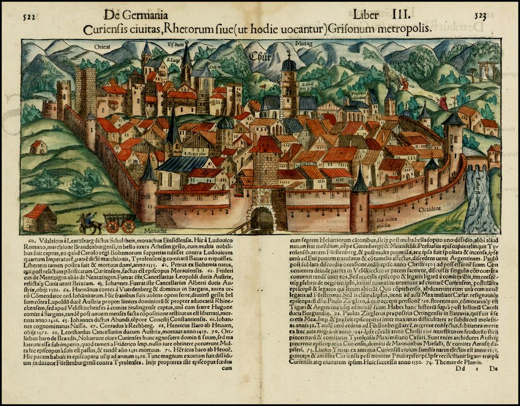 Curiensis civitas, Rhetorum sive (ut hodie vocantur) Grisonum metropolis By Sebastian Münster