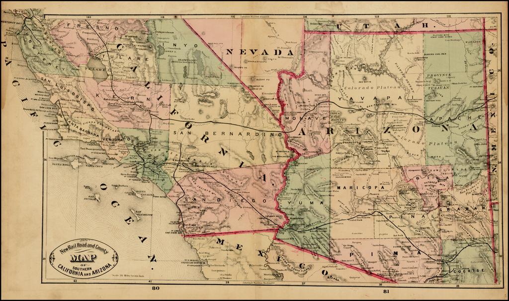 Map Of Arizona Railroads.New Railroad And County Map Of Southern California And Arizona