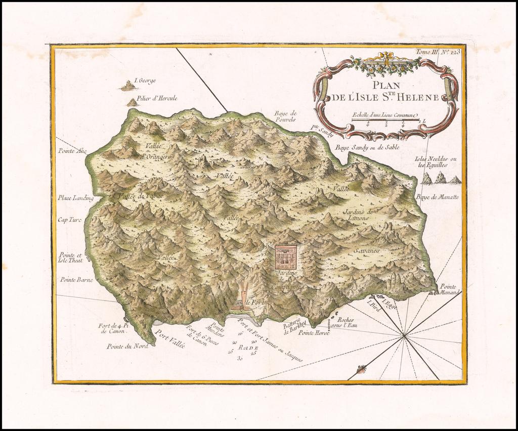 Plan De L'Isle Ste. Helene  By Jacques Nicolas Bellin