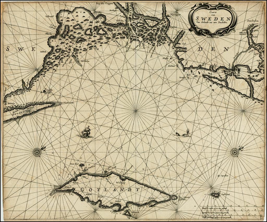 Caarte van Sweden Van Oelandt tot aen Stocholm By Pieter Goos