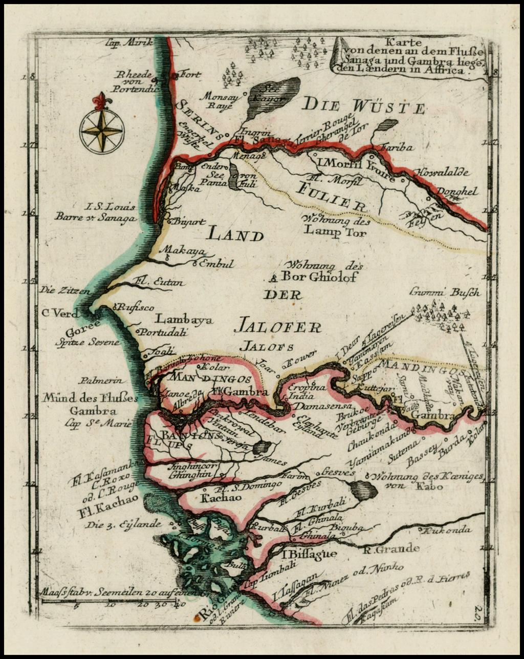 Karte von denen an dem Flusse Sanaga und Gabra liege den Laendern in Affrica By Christian Friedrich von der Heiden