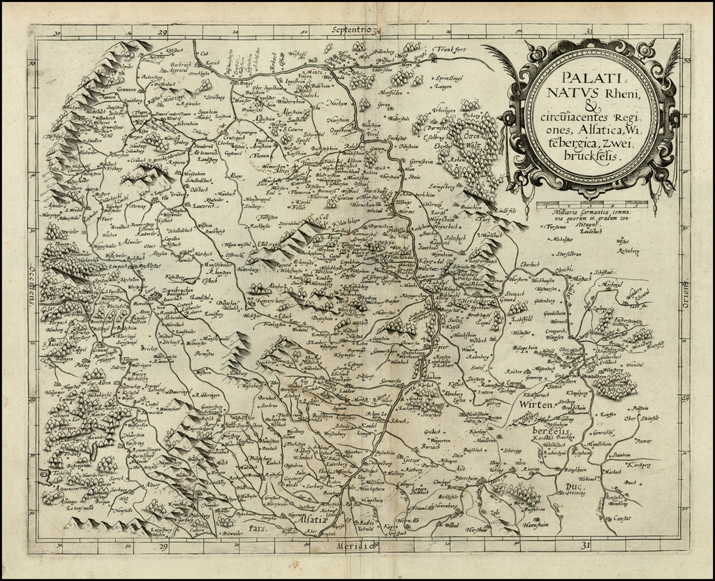 Palatinatus Rheni & circuiacentes Regiones, Alsatica, Witebergica, Zweibruckselsis By Gerard de Jode